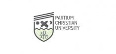 Logo of Partium Christian University (English, white)